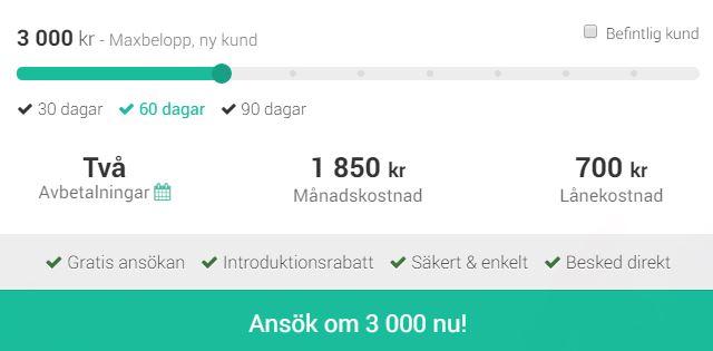 SMSlån med 90 dagars löptid