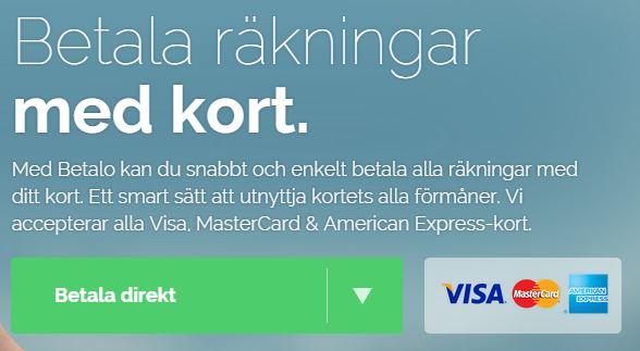 betalo betala räkningar med kreditkortet