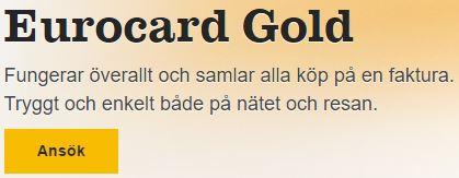 eurocard gold ansök
