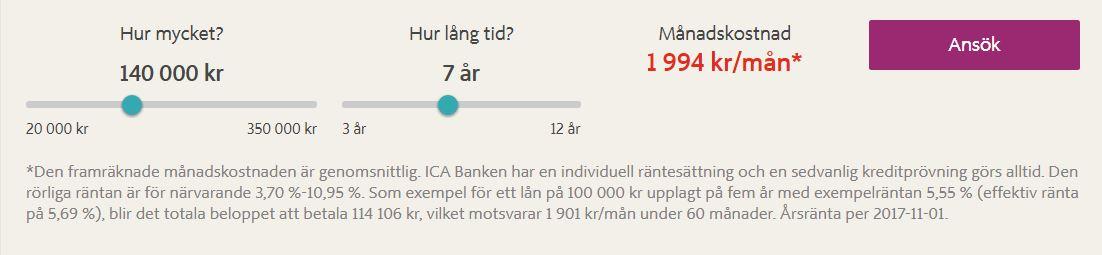 ica banken hur mycket får jag låna