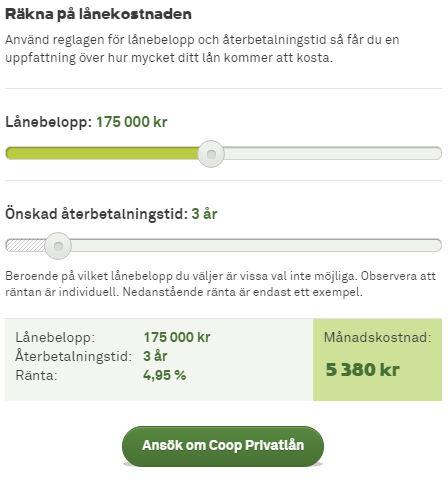 coop privatlån räkna